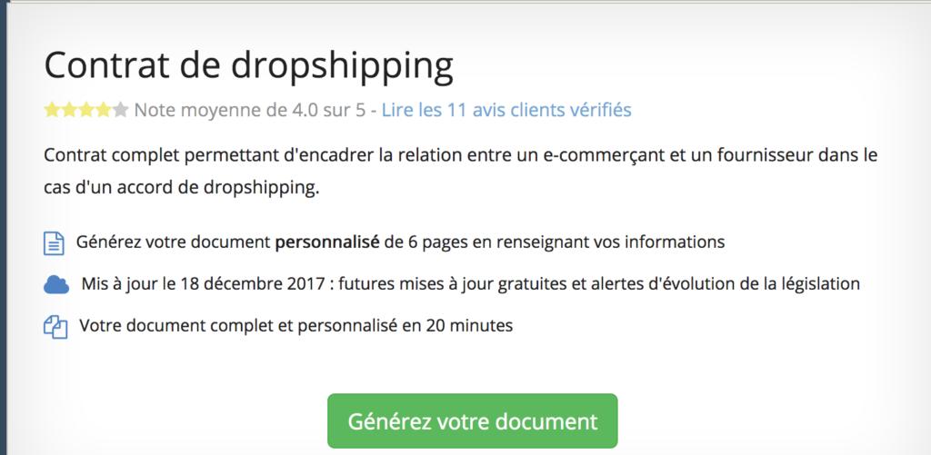 contrat dropshipping en ligne